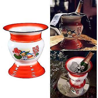 Emaille Spittoon 1960er Jahre chinesische chinesische antike Küche und Tischdekoration Emaille Schale für Champagner/Obst/Gemüse/Display