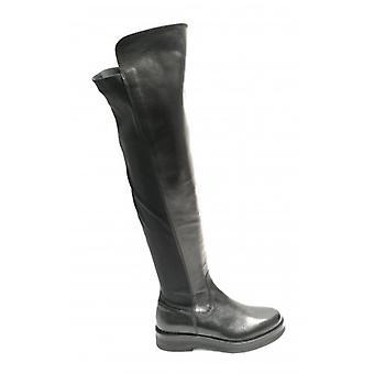 Yox Nicola Barbato Leather Boot and Black Stretch Fabric Woman D19nb03