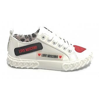 Sko Kvinners Kjærlighet Moschino Sneaker I Faux Skinn Hvit Maling D21mo14
