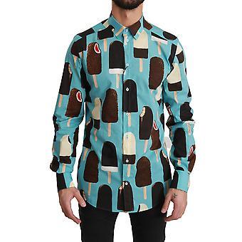 Blå bomull Glass Print Casual shirt