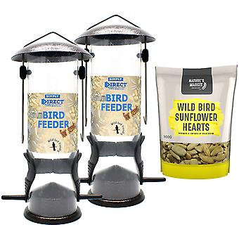 2 x Simply Direct Premium Hammertone Wild Bird Seed Feeders with 0.9KG bag of Sunflower Hearts Feed