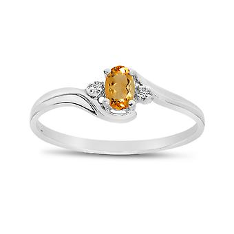 LXR 14k White Gold Oval Citrine and Diamond Ring 0.15 ct