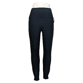 Spanx Leggings Women's Ankle Length Ponte Hem Slit Blue A369380
