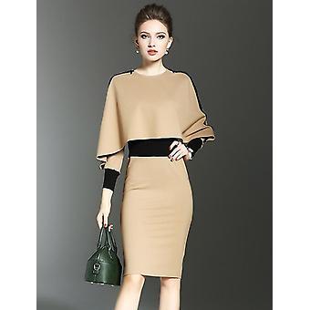 Vrouwen jurk pak, formele slijtage Bodycon slanke vintage cape jas, tweedelige set
