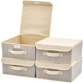 FengChun 4-Pack Aufbewahrungsbox mit Deckel, Cube Aufbewahrungskorb Ordnungsystem Boxen Krbe Kisten