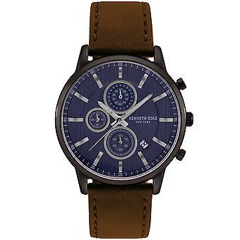 Kenneth Cole Kc50944001 Robe Moderne Sport Bleu &Brun Cuir Chronographe Homme Montre