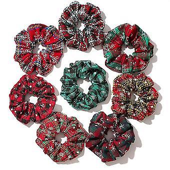 8Pcs girls autumn and winter hair ring christmas holiday gift hair ring