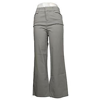 Martha Stewart Pantalones de mujer regular Chino wide-leg cuffed grey A354315