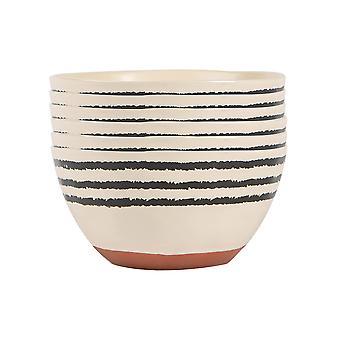 6x Ceramic Stripe Rim Cereal Bowls Patterned Dinnerware 15cm Monochrome