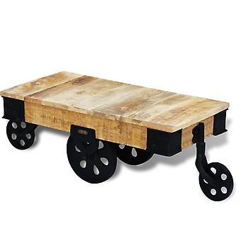 vidaXL table basse avec rouleaux Bois de mangue rugueux