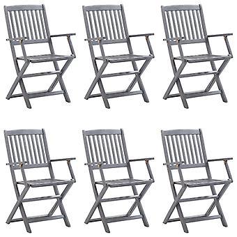 vidaXL Sillas de jardín plegables 6 piezas con cojín de asiento de madera maciza acacia