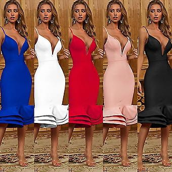 S hvid sommer sexet rem dyb v aften kjoler til kvinder fest 2021 urbano vintage kjole fa0893