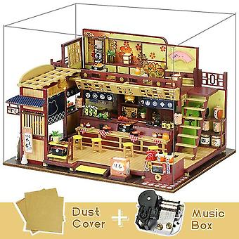 Cutebee diy dollhouse wooden doll houses miniature doll house furniture kit casa music led toys for children birthday gift a81