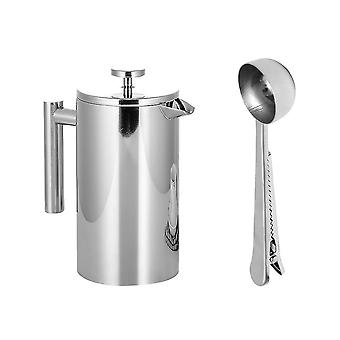 Stainless Steel French Press Coffee Tea Maker Double Wall Filter Baskets Cafetiere Coffee Pot (1000ml)