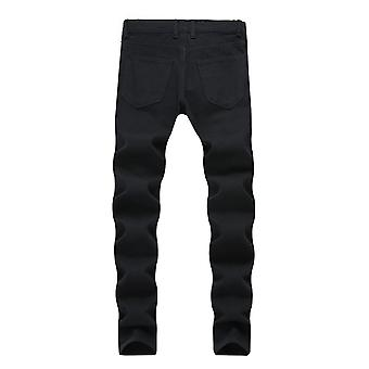 Yunyun Men's Straight Washed Casual Brushed Denim Pants Jeans