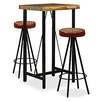 vidaXL 3 pcs. Bar-Set waste wood solid, real leather and canvas