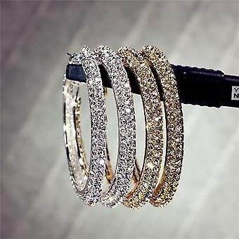 Kolczyki obręcze z diamentami dwurzędowymi cyrkonie