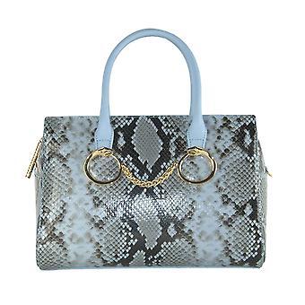 Light blue python print handbag