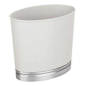 mDesign Oval Slim Plastic Kleine Prullenbak - Lichtgrijs/Geborsteld