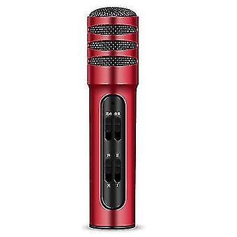 C11 الهاتف المحمول الكاريوكي مكثف صوت ميكروفون بطاقة الصوت يعيش ميكروفون الغناء (الأحمر)