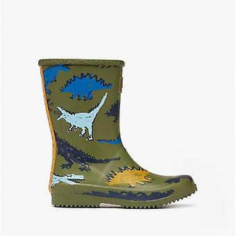 Joules Roll Up Boys Gummi Wellies Green Dinos