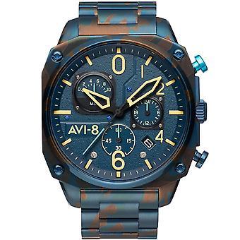 AVI-8 Av-4052-33 Mens Air Camo Retrograde Kronograf Blå Rostfritt Stål Klocka