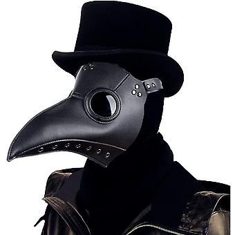 Pest Doctor Mask Halloween Rekvisita Kostym Steampunk Retro Läder Fågelmask