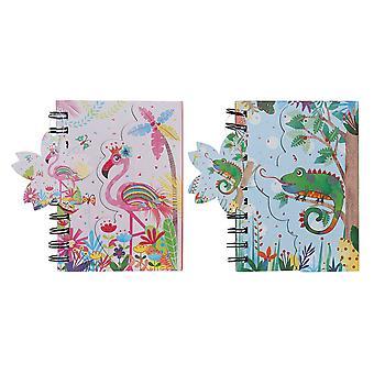 Livre d'anneaux DKD Home Decor Blue Pink (2 pcs) (12 x 2 x 15 cm)