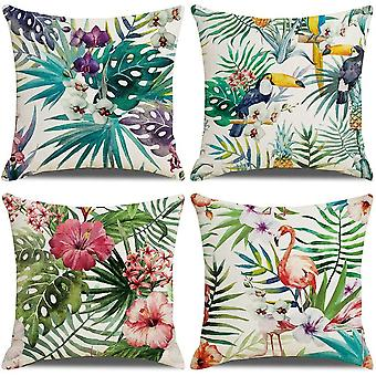 Tropical Cushion Covers, Pack Of 4flamingo Leaf Pattern Cotton Linen 18x18inches