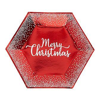 צלחת נקודות אדומות ולבנות שמחה לחג המולד - גדולה