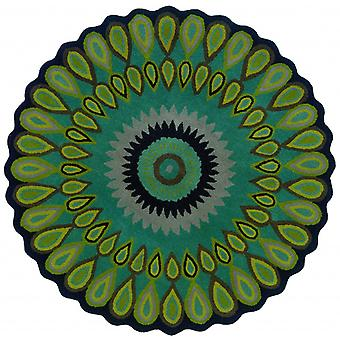 3' Round Green Peacock Feather Area Rug