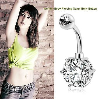 Women Lady Zircon Decoration Medical Belly Ring Simple Copper Anti-allergy
