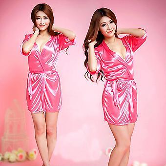 Women Satin Lace Silk Soft Underwear Lingerie Nightdress Sleepwear Robe
