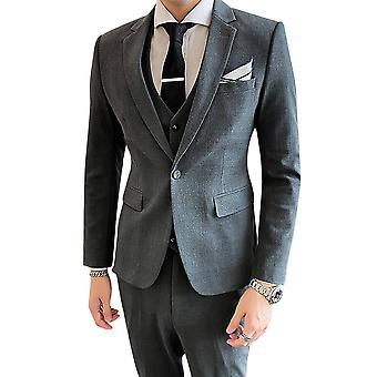 Yunyun Men's Solid Color One Button Back Slit Three-piece Jacket Vest Pants