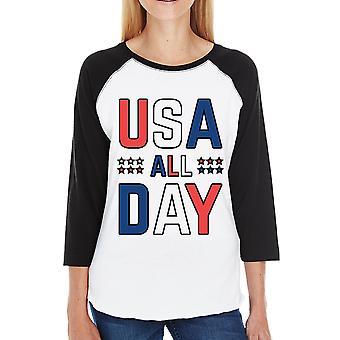 USA alle dag Womens 3/4 mouw honkbal Tee unieke patriottische geschenken