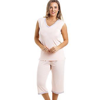 Camille stijlvolle bijgesneden been mouwloos perzik Pyjama Set