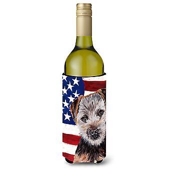 Norfolk Terrier Welpe mit amerikanische Flagge USA Wein Flasche Getränk Isolator Hugg