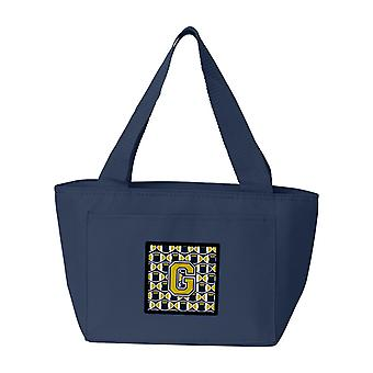 Carolines Treasures  CJ1074-GNA-8808 Letter G Football Blue and Gold Lunch Bag