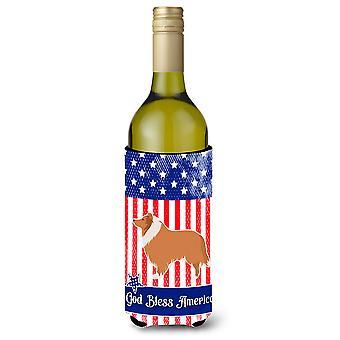 USA patriottische Collie wijnfles Beverge isolator Hugger