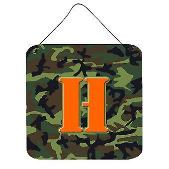 الحرف H مونوغرام الأولية-التمويه حائط أخضر أو باب شنقاً يطبع