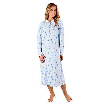 Slenderella ND8112 kvinnors Blå blommig bomull natt Klänning Långärmad nattlinne