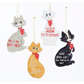 Kurt Adler Kitty Kat Happy Face Meow houding vakantie ornamenten Set van 4 hars