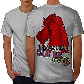 Red Bad Guy Unicorn Men GreyT-shirt Back | Wellcoda