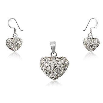 Ornamento di cuori a ciondolo da donna e orecchini di cristallo bianco e argento 925/1000 1312