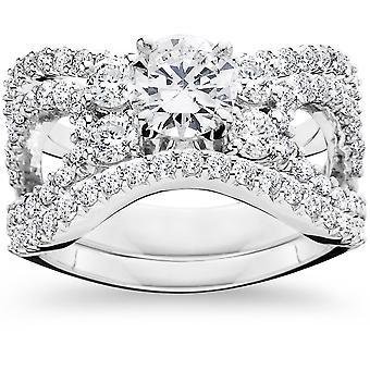 الماس CT 4.00 مشاركة خاتم الزواج الثلاثي ك 14 مجموعة الذهب الأبيض