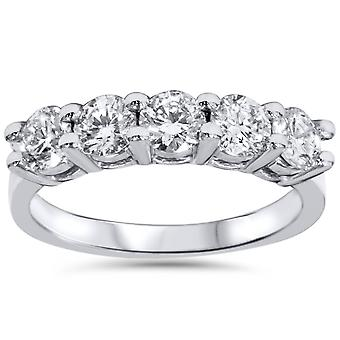 3 / 4ct Diamant 5-Stein-Hochzeit Jubiläum 14K weiß