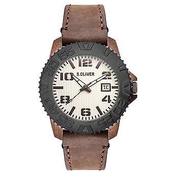 s.Oliver mænds wrist watch analog quartz læder SO-15154-LQR