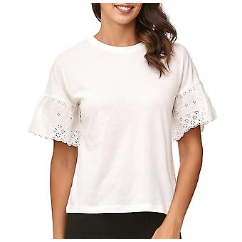 JDY JACQUELINE DE YONG naisten t-paita lyhyt trumpetti hihat liehureunuksilla pusero