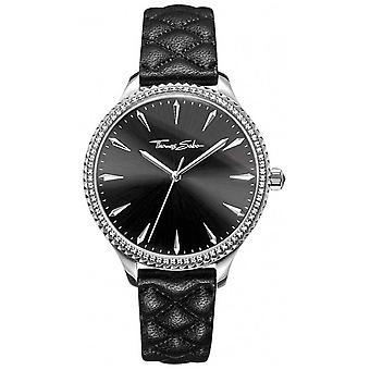 Thomas Sabo Womens rebelle au coeur en cuir noir cadran noir bracelet WA0322-221-203-38