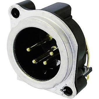 Neutrik NC4MBH XLR connector Sleeve plug, right angle pins Number of pins: 4 Silver 1 pc(s)